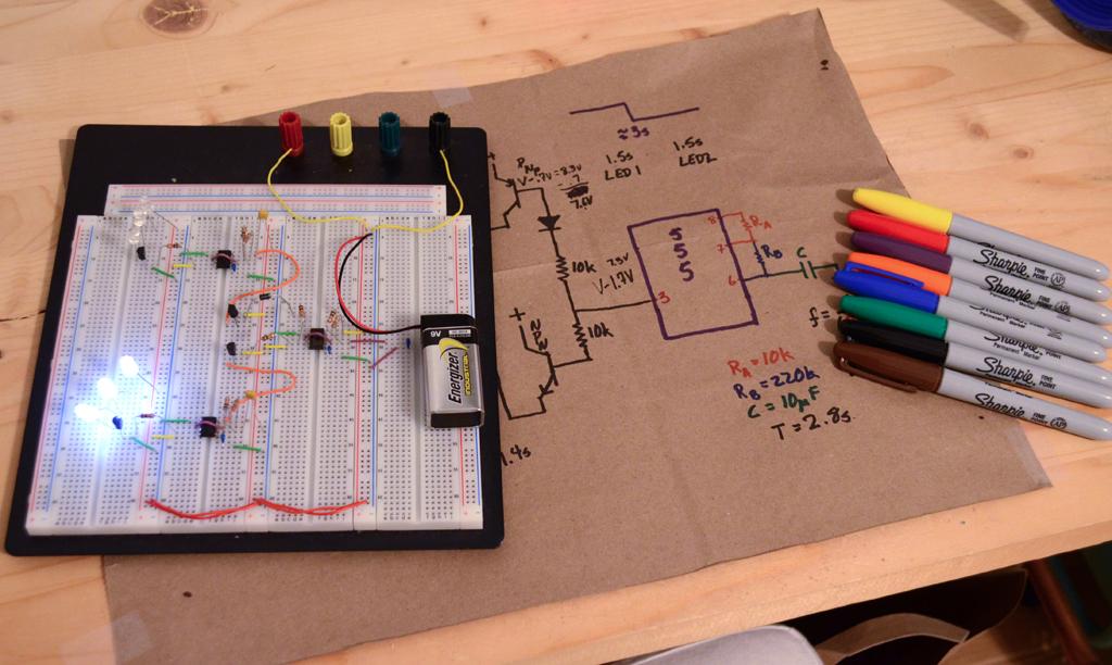 Cascading 555 Timers for Custom Blinking LEDs